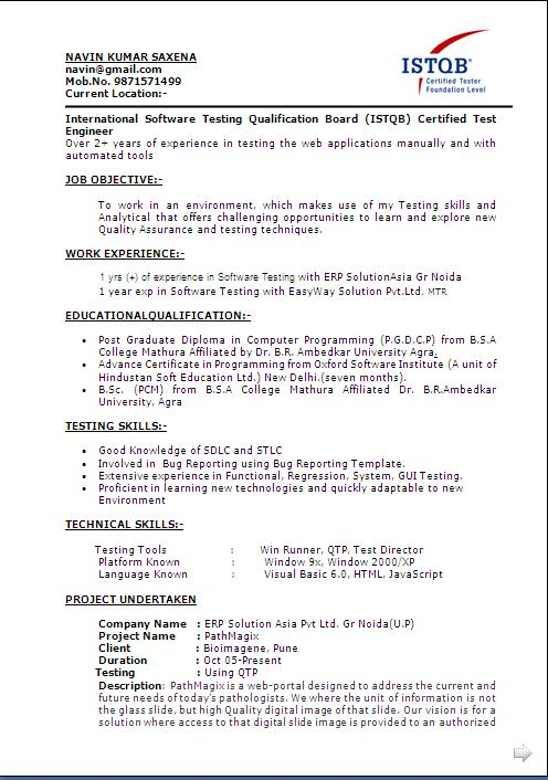 automation tester cover letter how to format a resume cover letter - Automation Tester Resume