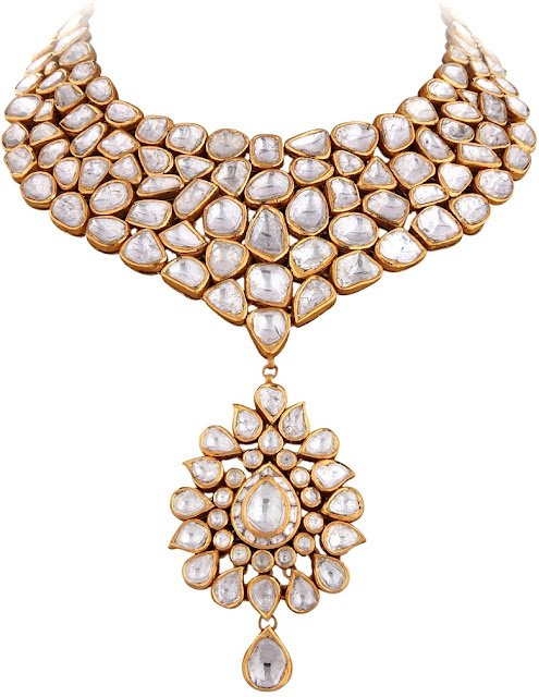 Entice Taraash Kundan Polki Necklace Pear-shaped Drop