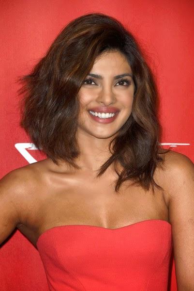 Priyanka Chopra nude shoulder in Red Dress at MusiCares