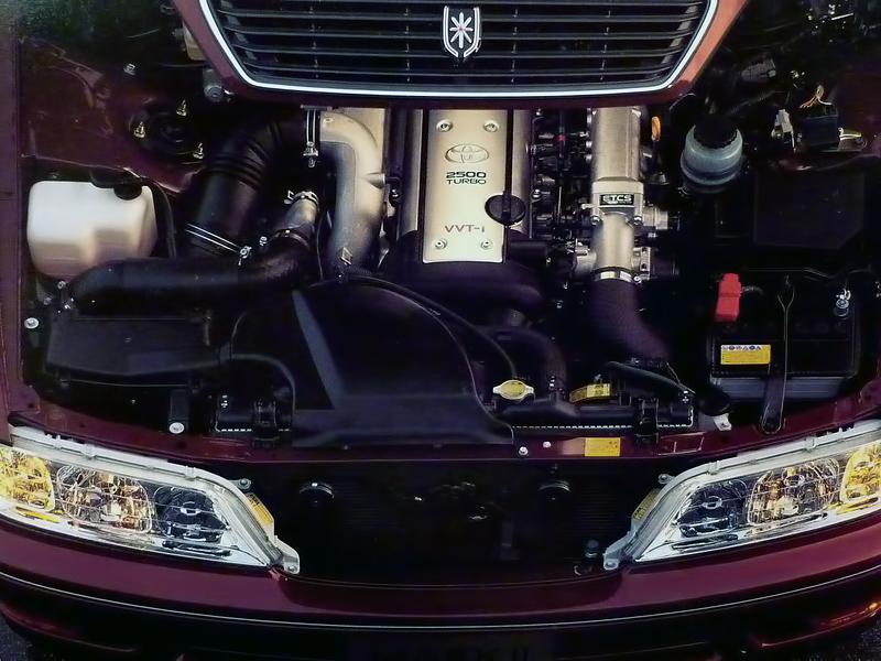 Toyota Mark II X100, 1JZ, JZX100, driftowóz, tuning, RWD, zdjęcia, 日本車, チューニングカー, ドリフト走行, トヨタ マークII, silnik, 1JZ-GTE
