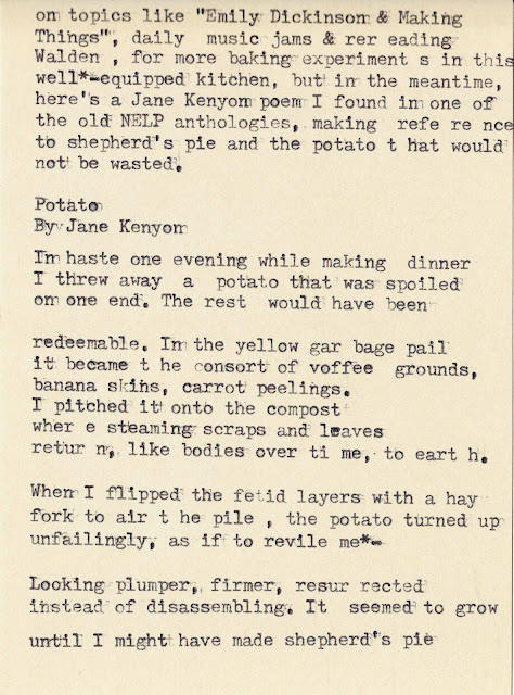 Typewritten Poem Potato By Jane Kenyon
