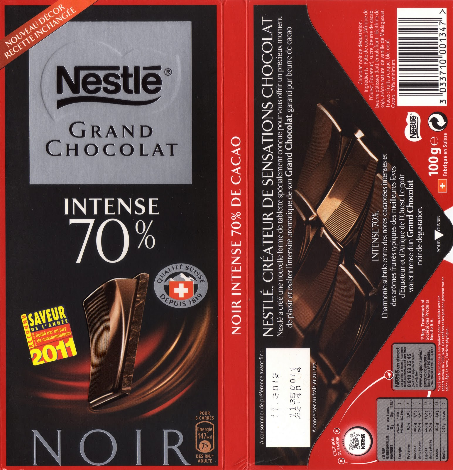 Connu Nestlé Grand Chocolat Intense 70 ~ Tablette de Choc XS08