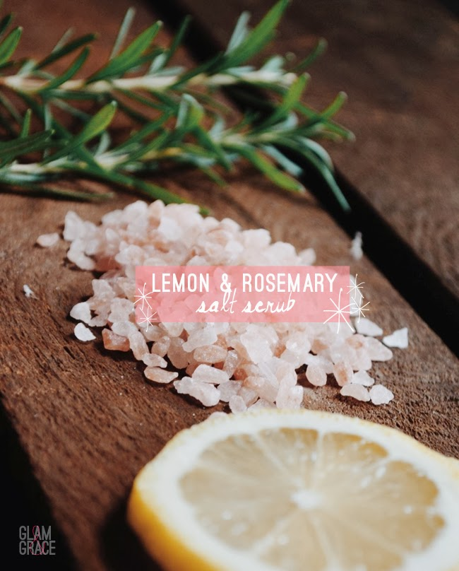 DIY lemon and rosemary salt scrub
