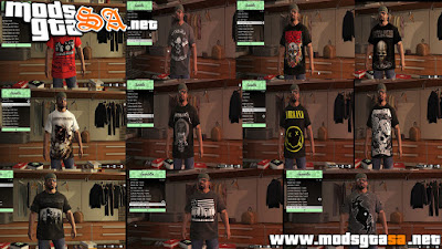 V - Pack de Camisas de Bandas de Rock e Metal GTA V PC