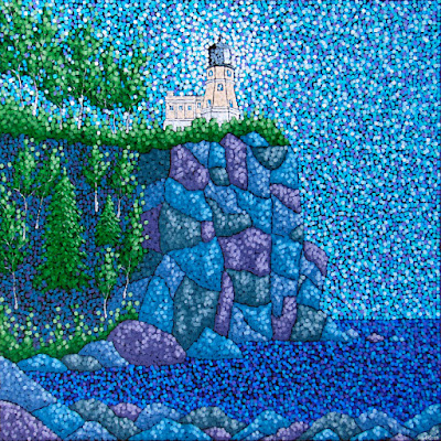 Summer at Split Rock acrylic painting by aaron kloss, pointillism
