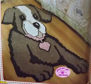 Tapete infantil de crochê em formato de Cachorro