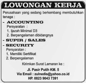 Lowongan kerja Accounting
