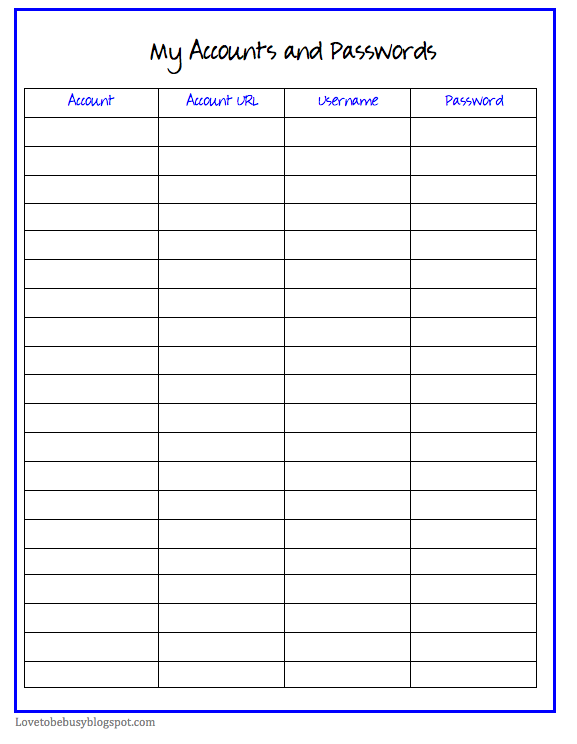 Free Printable Monthly Bill Organizer Template