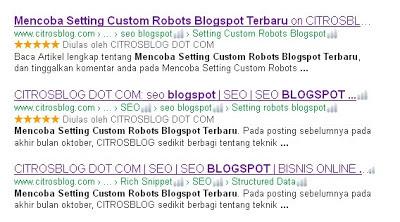 Laporan Hari Pertama Perubahan Setting Custom Robots Blogspot