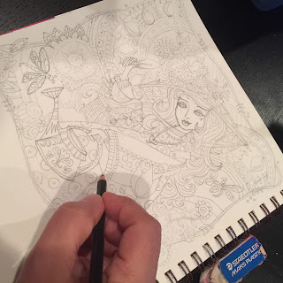 Sketching on an Adult Coloring Book Page