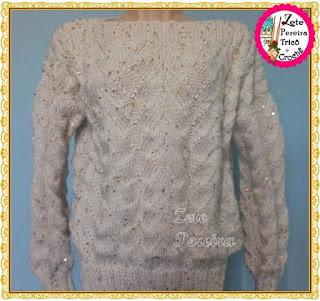 Blusa de tricô, lã Aya com lantejola
