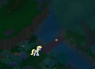 Another screenshot of Derpy's Story, featuring the titular character crossing a stream.
