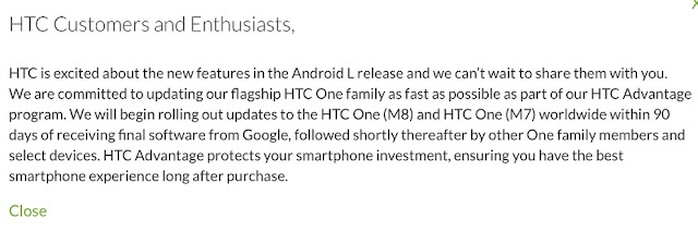 HTC Android 5.0 Lollipop plans