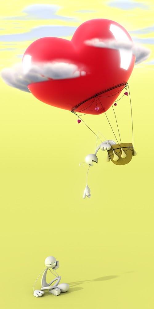 Figur i hjerteformet ballon driller den der sidder tilbage på jorden