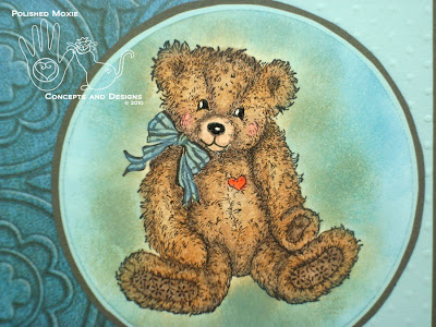Close up picture of the colored teddy bear image