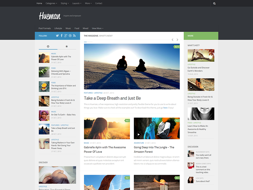 Download Gratis Hueman Wordpress Theme , news , magazine
