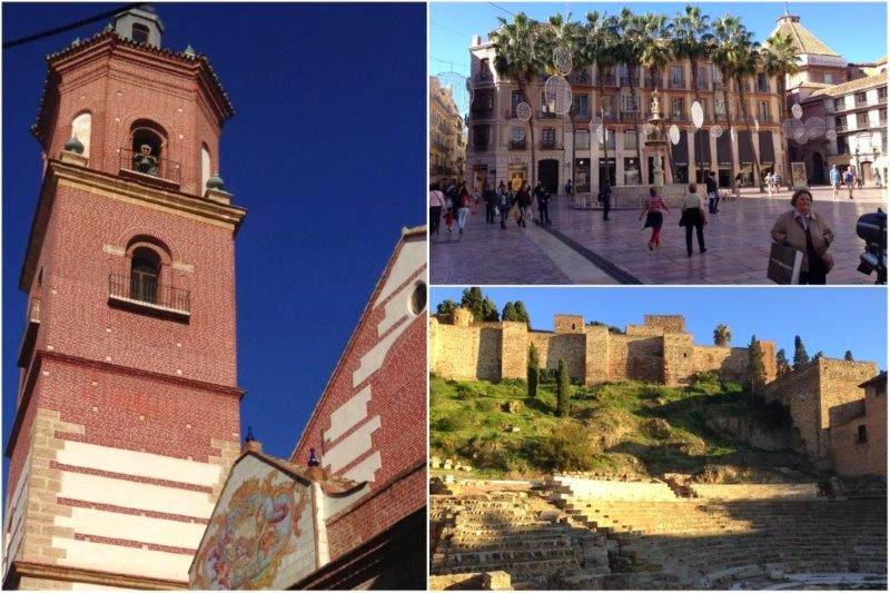 Iglesia, Plaza de la Constitucion desde donde parte la Calle Larios, Teatro Romano en Malaga