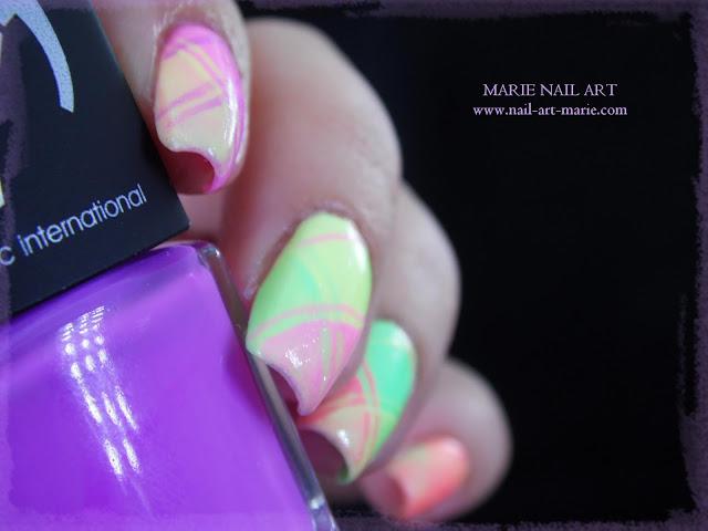 Nail Art Ecossais Pastel Fluo7
