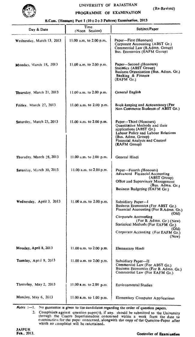 Rajasthan Uniersity B.Com. 2013 Timetable | B.Com. Part 1 Rajasthan