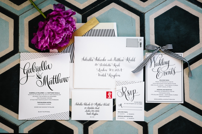 Gorgeous letterpress wedding invitation suite with hand calligraphy