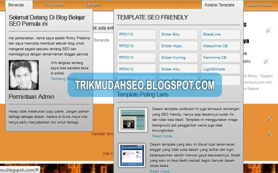 contoh tampilan drop down menu yang dibuat dengan CSS3