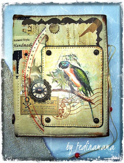 блокнот в тканевой обложке с попугаем