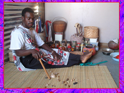 Animal bones, sea shells, and nuts used by Sangoma's for readings