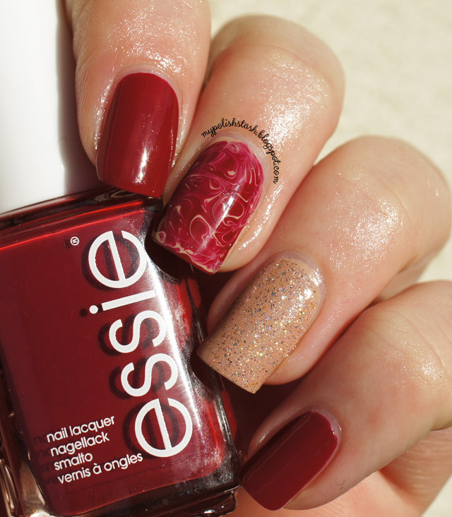 skittle manicure red nude glitter