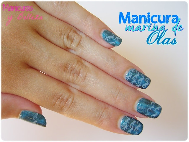 manicura marina azul de olas mar waves nail art sea blue summernails placas estampación Pueen