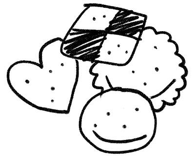 クッキーのイラスト(お菓子) モノクロ線画
