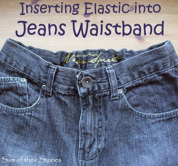 Inserting elastic into jeans waistband