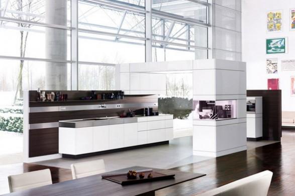 Hermosa cocina blanca con gabinetes de madera cocina y for Disenos de gabinetes de cocina