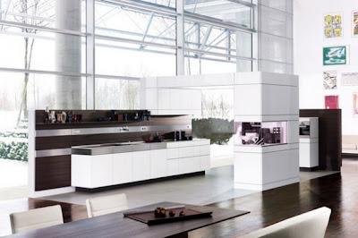 hermosa cocina blanca con gabinetes de madera c mo dise ar cocinas modernas cocina y muebles. Black Bedroom Furniture Sets. Home Design Ideas