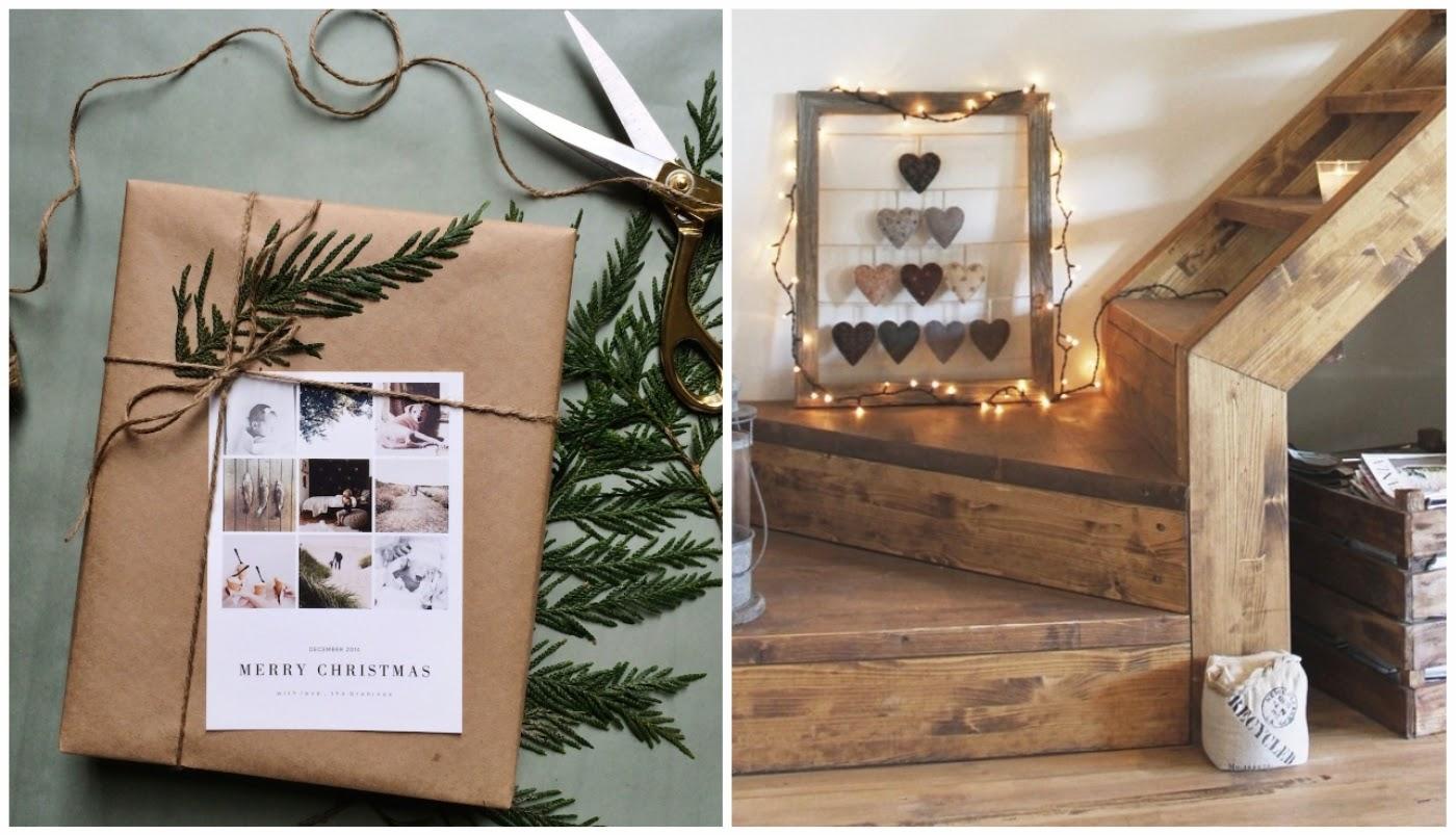 O papel kraft para embalagens de presentes natalinos. Também adorei esta árvore de coração emoldurada com luzes natalinas.
