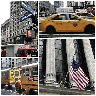 "alt=""New York cab, school buses, American flag, Fifth Avenue and Coke lorry"""
