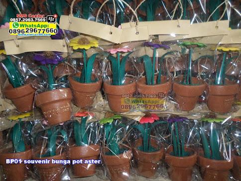 souvenir bunga pot aster unik