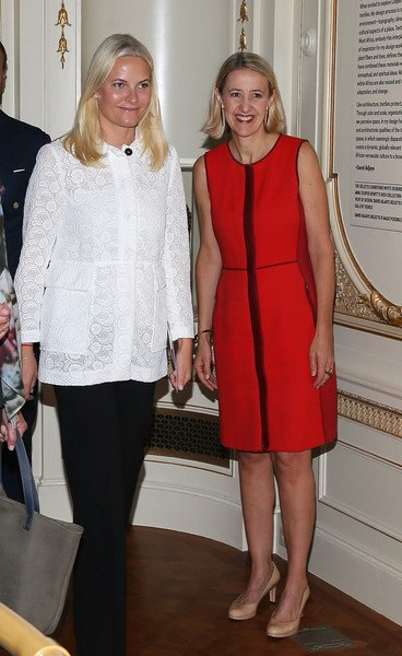 Crown Prince Haakon of Norway and Crown Princess Mette-Marit of Norway attends a ceremony to celebrate a gift of Norwegian textile at the Cooper Hewitt, Smithsonian Design Museum