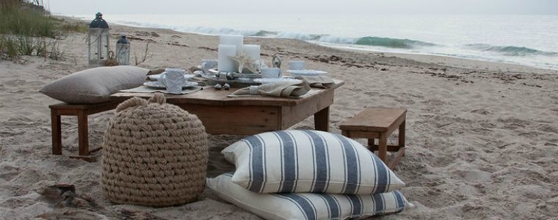 Coastal low table and benches on beach