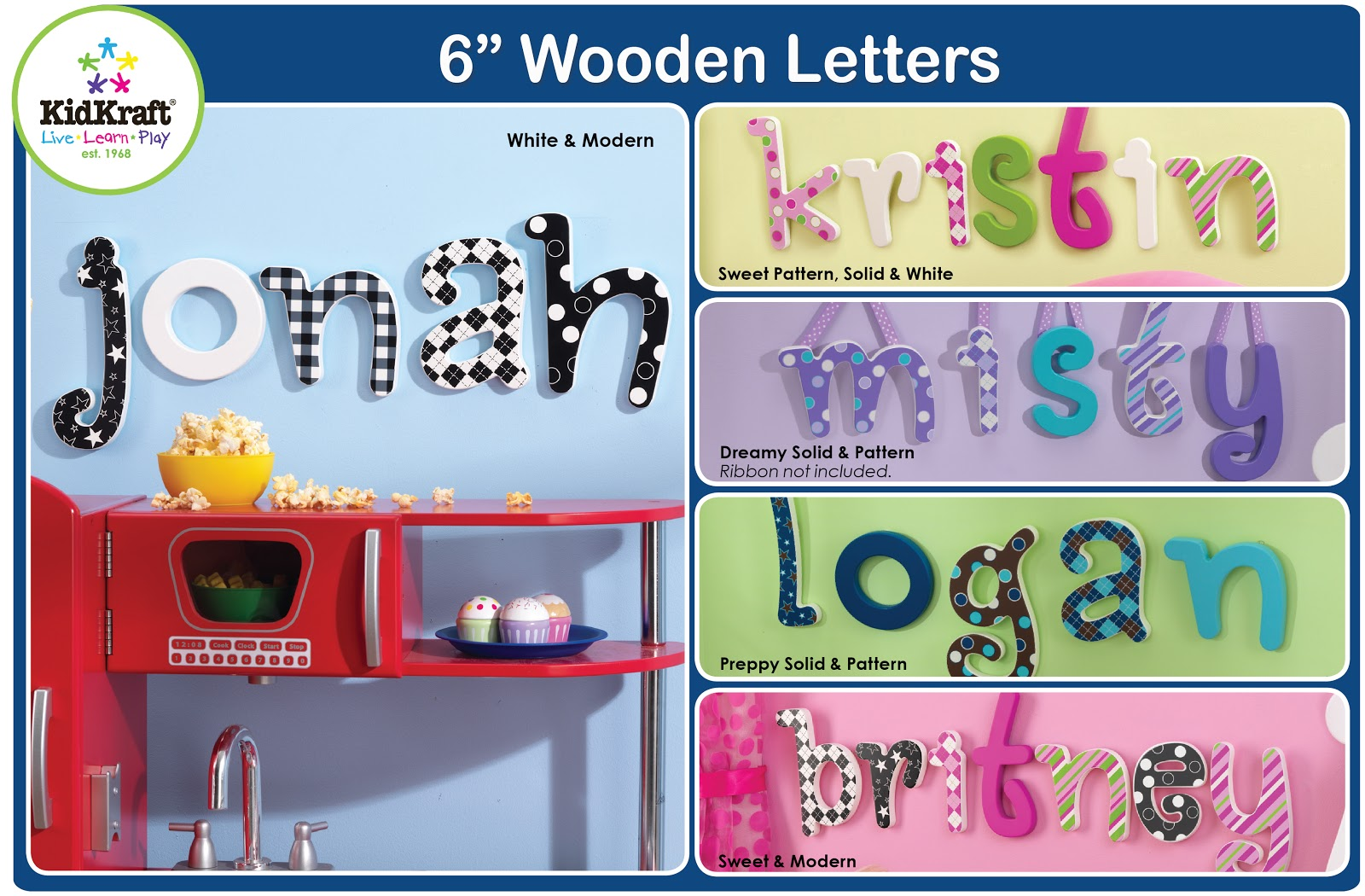 Kidkraft toys furniture colorful 6 wooden letters for Furniture 6 letters