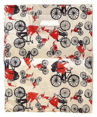 old bag with Santa cycling illustration