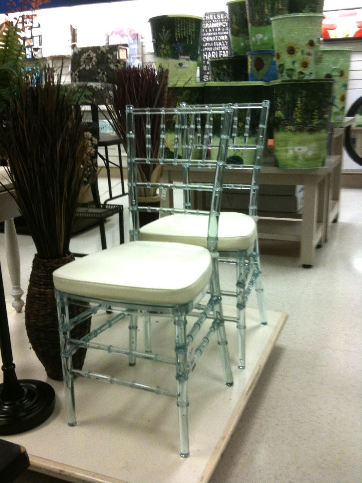 beautiful lucite chairs at the TJ Maxx at Preston Center in Dallas