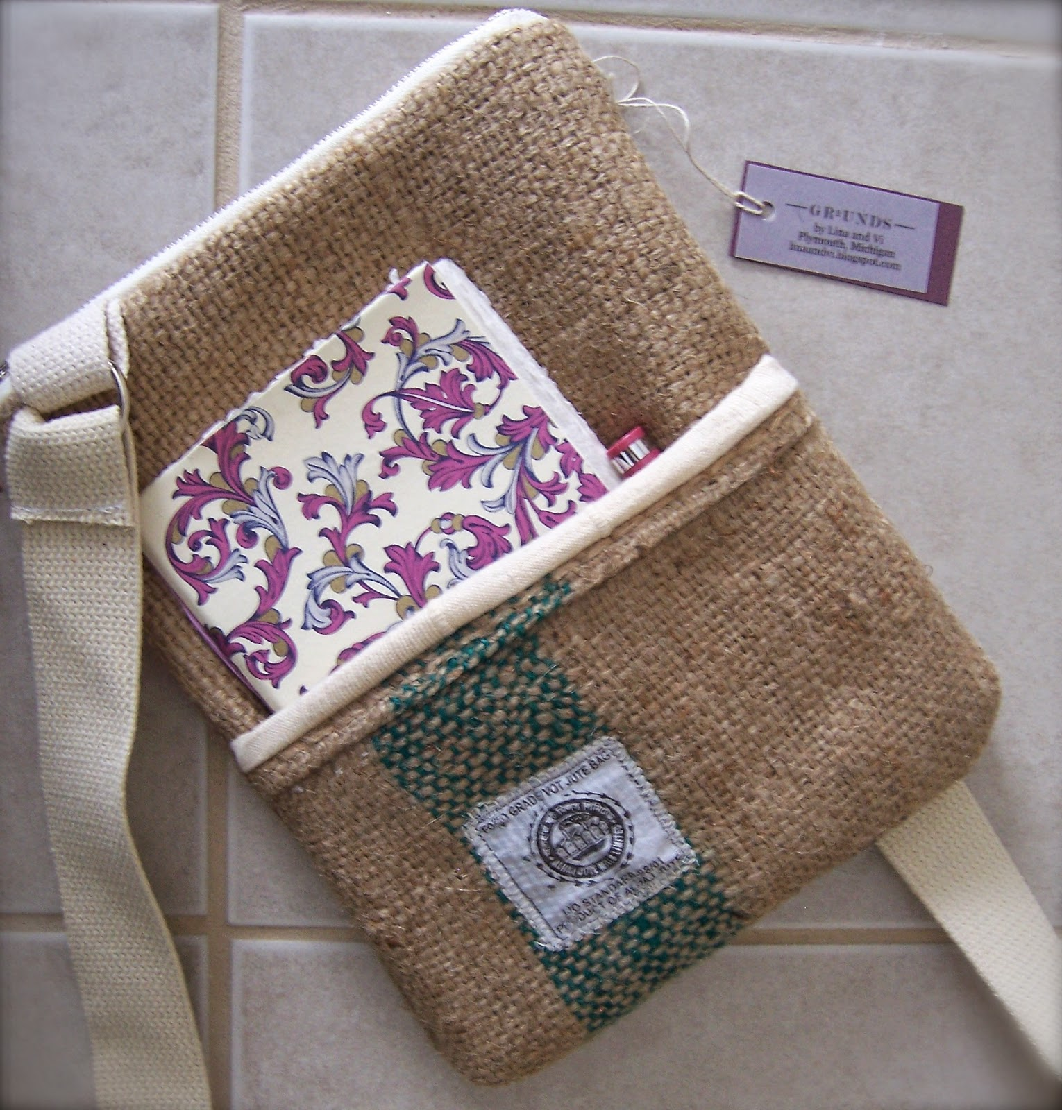 Jute Mills burlap bag top - linaandvi.blogspot.com - Plymouth MI
