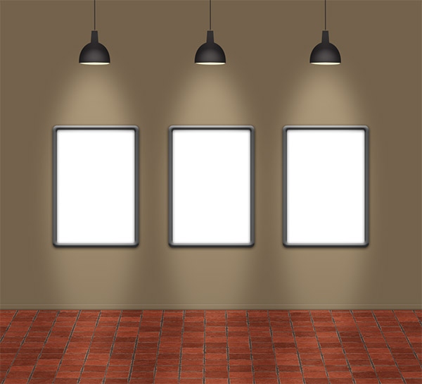 Free PSD Template: 3 Frames With Lamps | DesignEasy