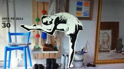 IKEA Banksy graffiti ballerina in Milan