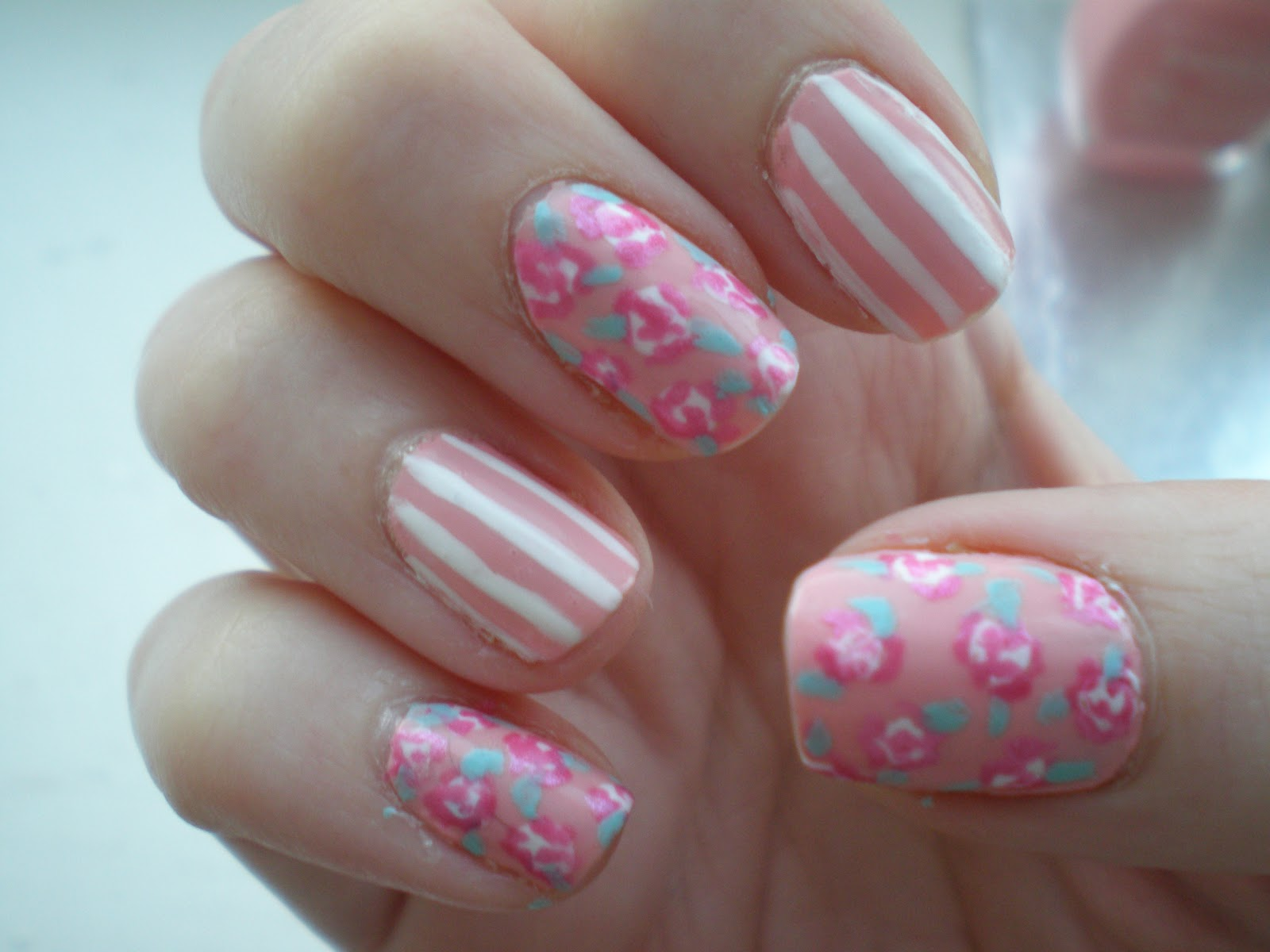 Nail art rose flower easy flower nail art designs for beginners view images prinsesfo Image collections
