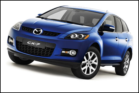 Front 3/4 view of blue 2011 Mazda CX-7