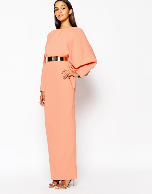 aq aq peach maxi dress, gold belt maxi dress,