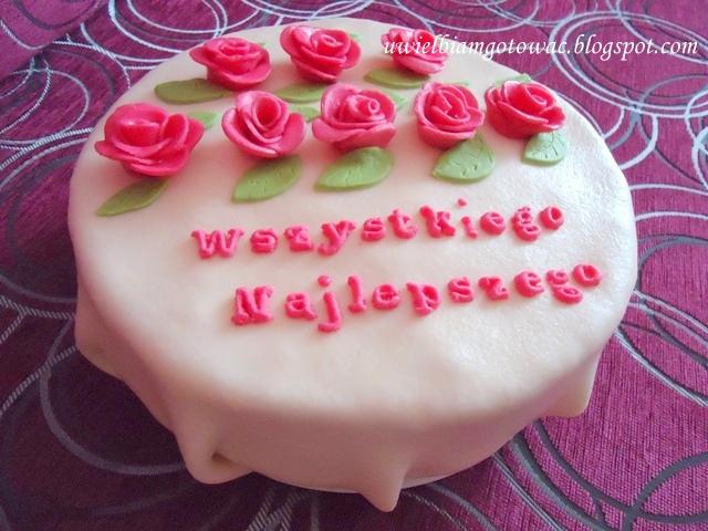 Tort urodzinowy z różyczkami