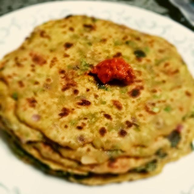 Mutter Palak ParathaIndian Breads, Stuffed Parathas & Wraps