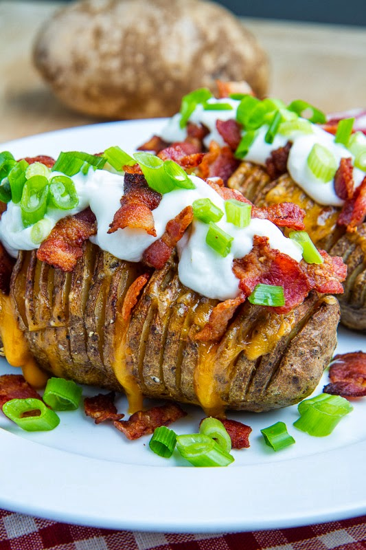 Hasselback potatoes, baked until crispy on the outside and tender on ...